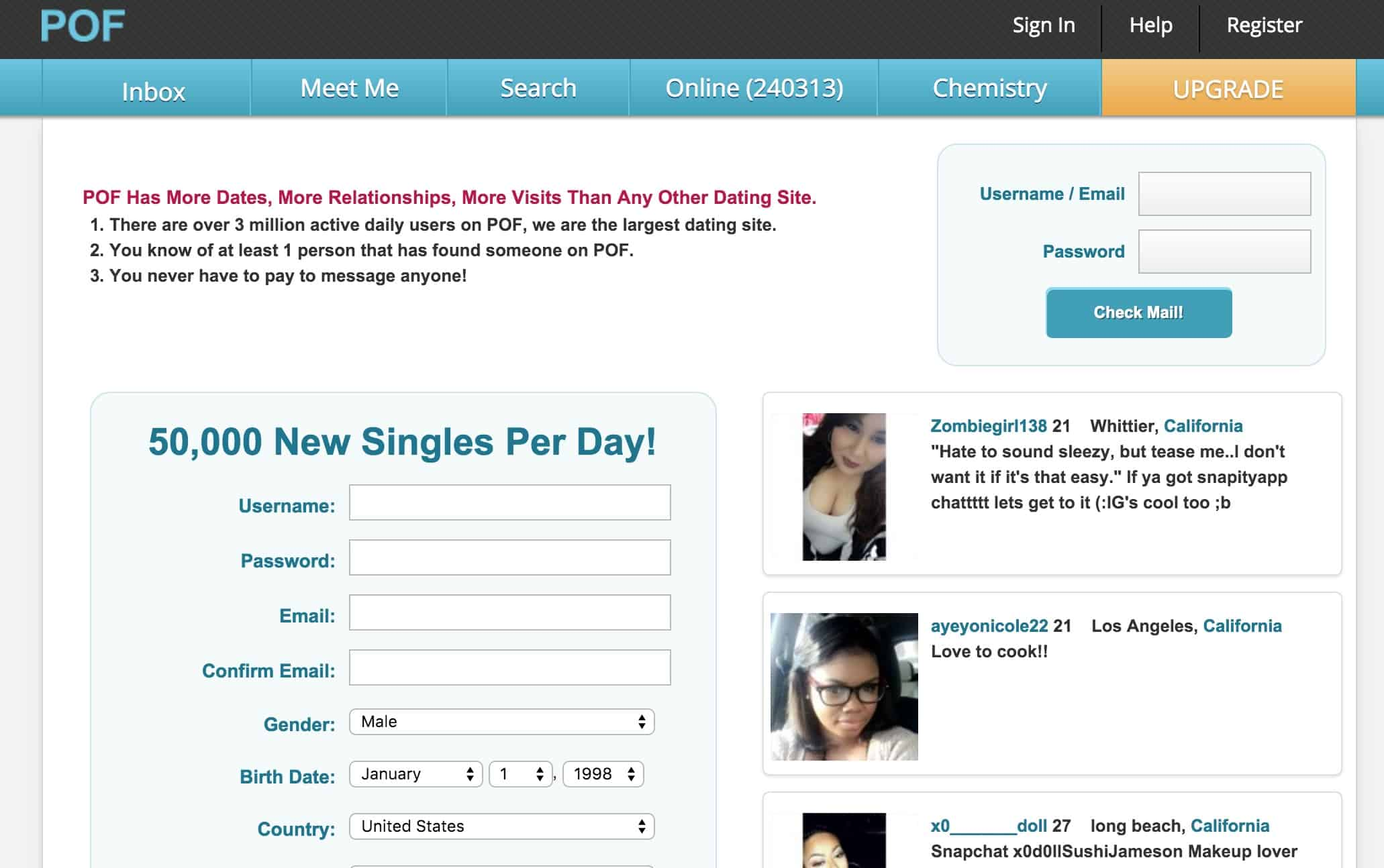 Free dating site pof